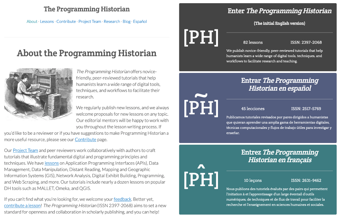 programminghistorian.org before the style rewrite (left) and after (right)