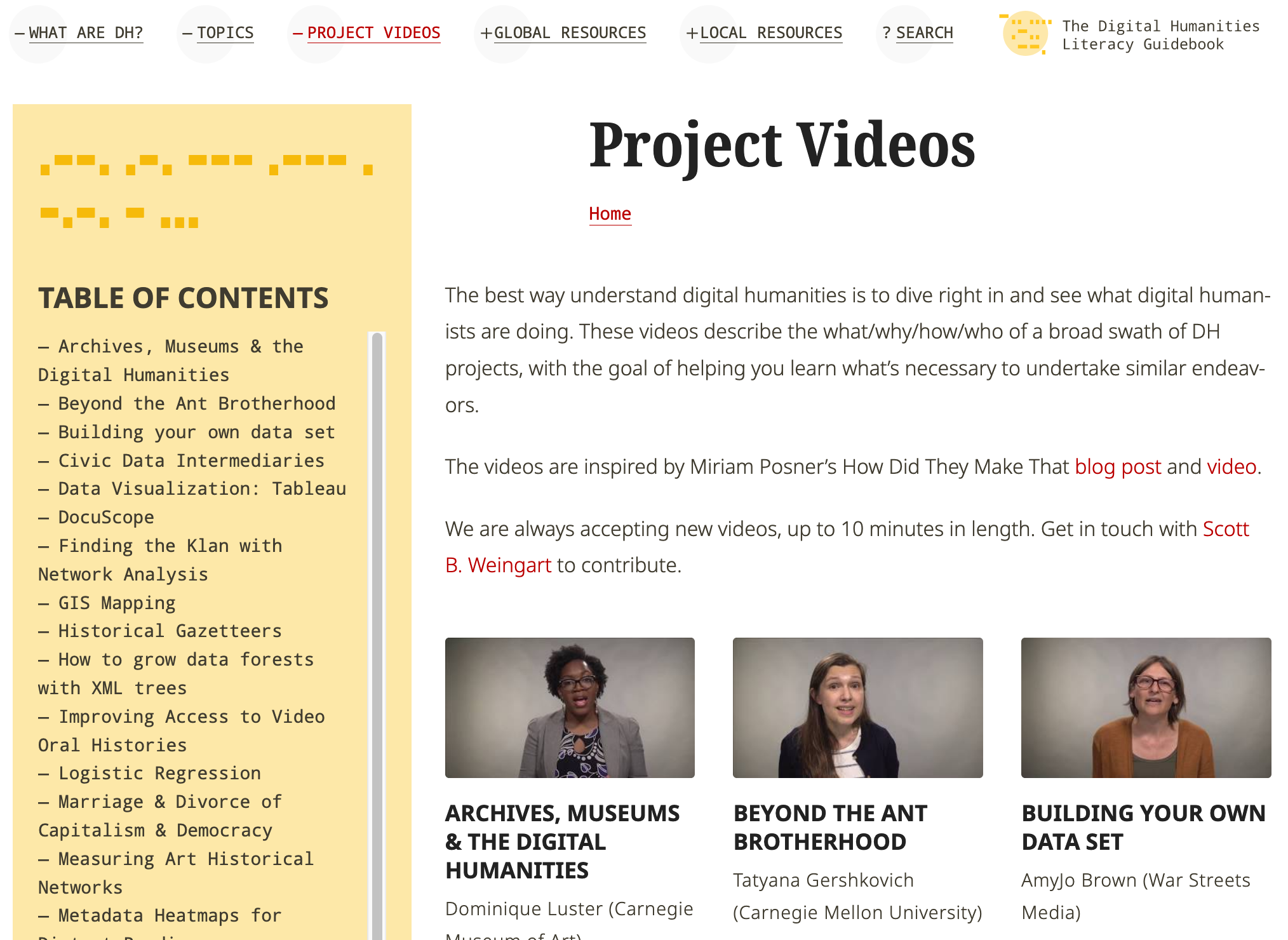 The project videos page of the Digital Humanities Literacy Guidebook