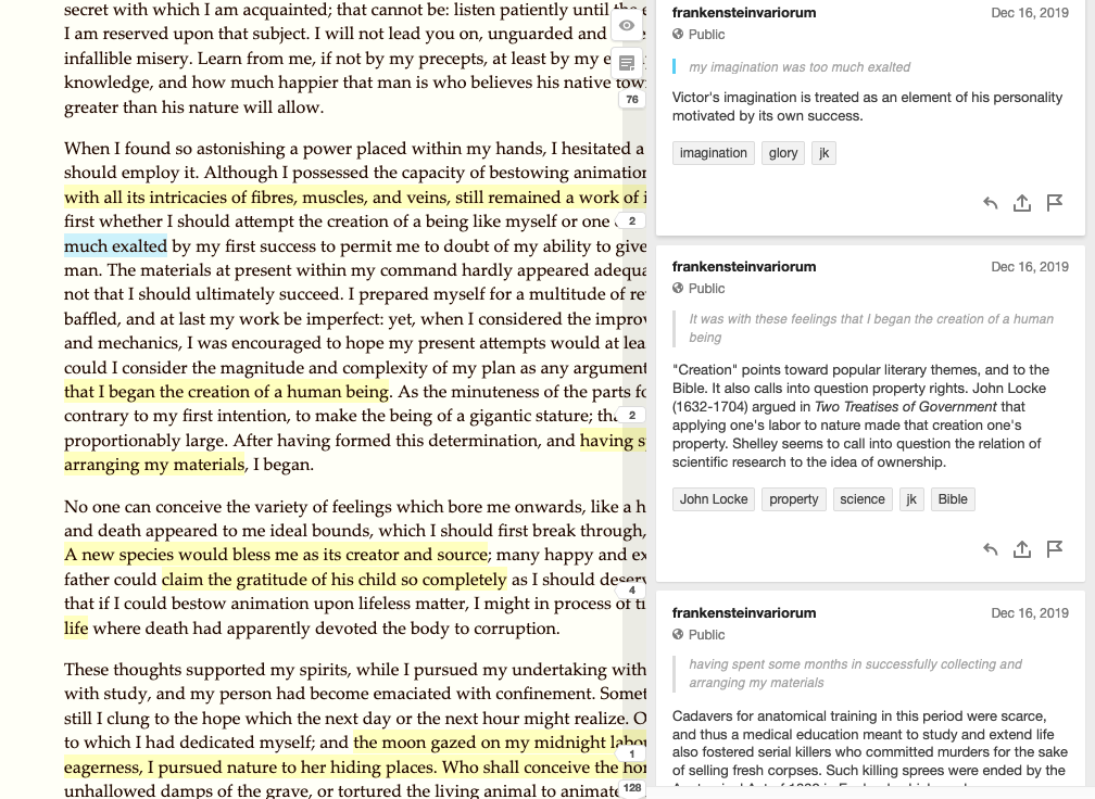 A screenshot of the hypothes.is annotation interface on the 1818 HTML edition of the novel.