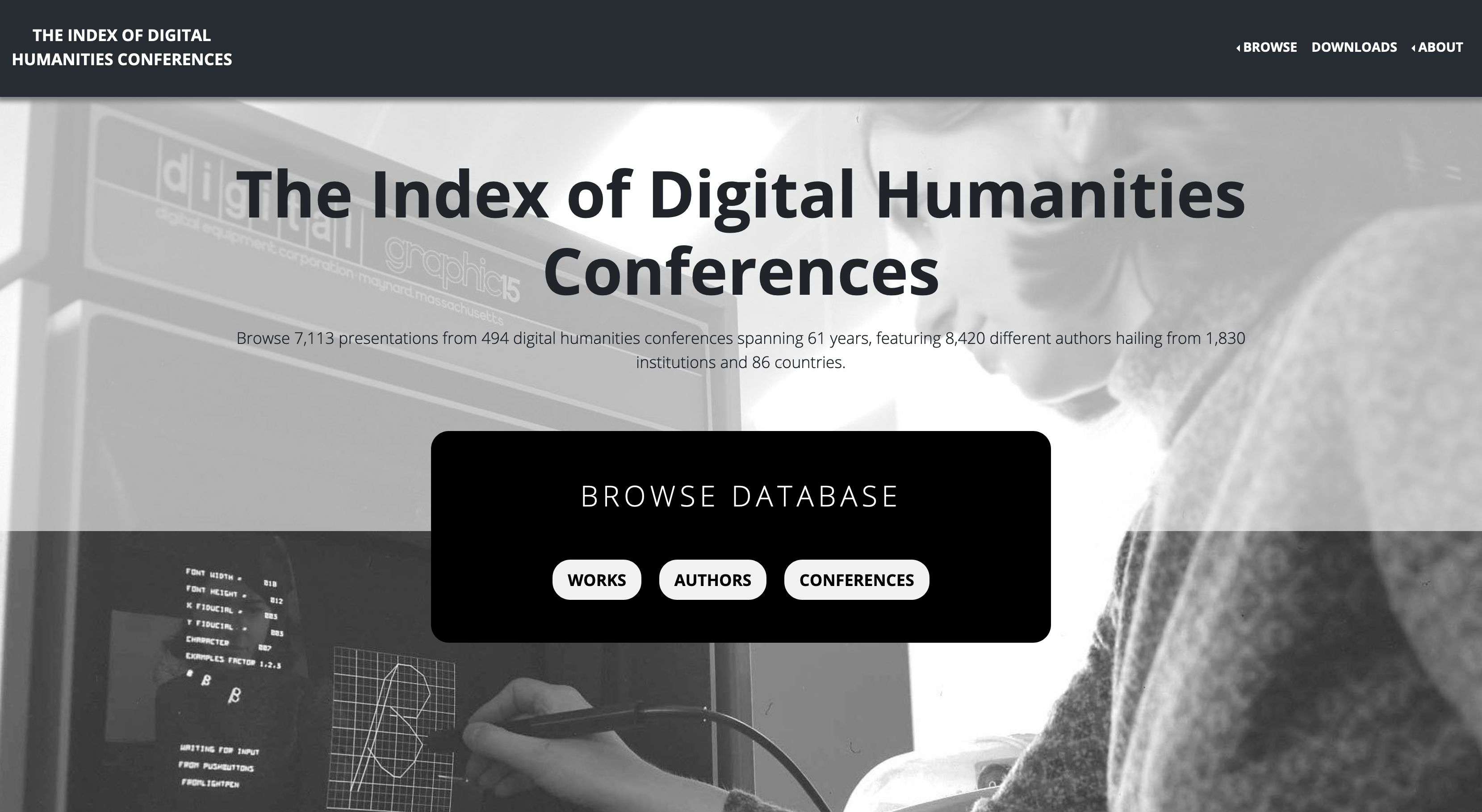 The homepage of The Index of Digital Humanities Conferences