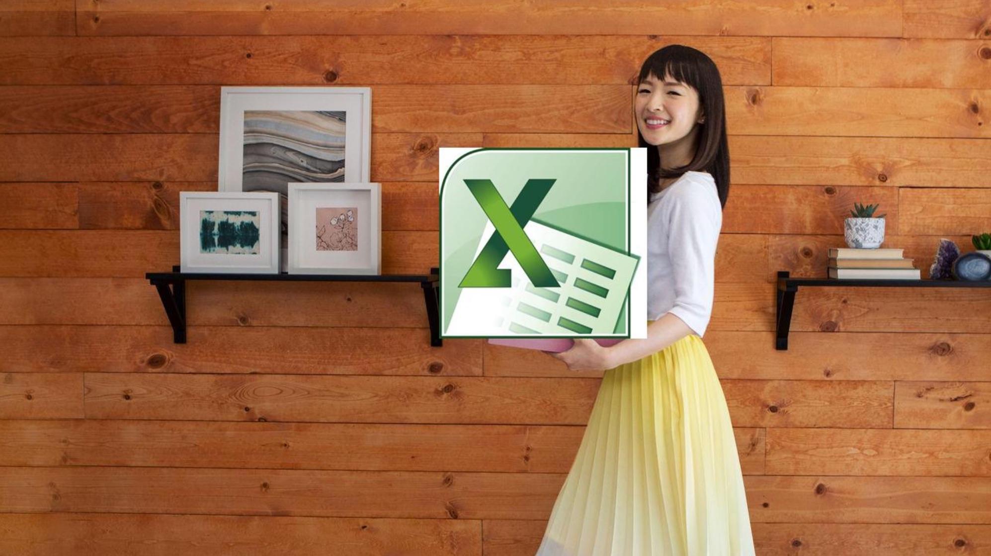 Marie Kondo Cradling an Excel Spreadsheet